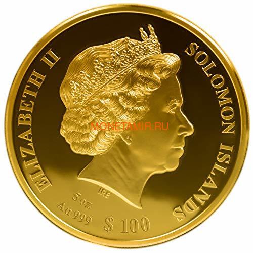 Соломоновы Острова 100 долларов 2021 Пионеры Авиации Уилбер и Орвилл Райт Перламутр (Solomon Isl 100$ 2021 Pioneers of Aviation Mother of Pearl 5oz Gold Coin Proof).Арт.90 (фото, вид 1)