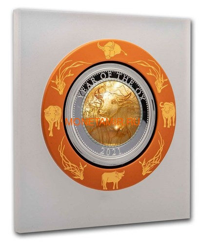 Острова Кука 25 долларов 2021 Год Быка Лунный Календарь Перламутр (Cook Isl 25$ 2021 Year of the Ox Mother of Pearl 5 Oz Silver Coin).Арт.65 (фото, вид 2)
