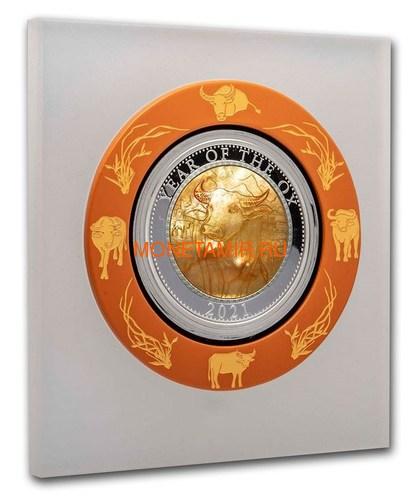 Острова Кука 200 долларов 2021 Год Быка Лунный Календарь Перламутр (Cook Isl 2021 200$ Year of the Ox Mother of Pearl 5Oz Gold Coin Proof).Арт.65 (фото, вид 2)