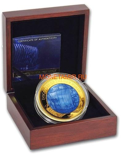 Соломоновы Острова 100 долларов 2020 Лейф Эрикссон Открытие Нового Мира Корабль Перламутр (Solomon Isl 100$ 2020 Discovery of the New World Leif Erikson Mother of Pearl Gold Coin Proof).Арт.25/90 (фото, вид 2)