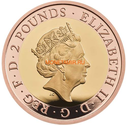 Великобритания 2 фунта 2020 Мейфлауэр Корабль Биметалл (GB 2£ 2020 Mayflower Gold Proof Coin).Арт.90 (фото, вид 1)