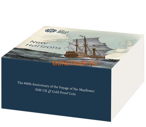 Великобритания 2 фунта 2020 Мейфлауэр Корабль Биметалл (GB 2£ 2020 Mayflower Gold Proof Coin).Арт.90 (фото, вид 4)