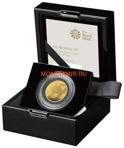Великобритания 25 фунтов 2020 Обратите Внимание 007 Джеймс Бонд (GB 25£ 2020 Pay Attention 007 Quarter-Ounce Gold Proof Coin).Арт.90 (фото, вид 2)