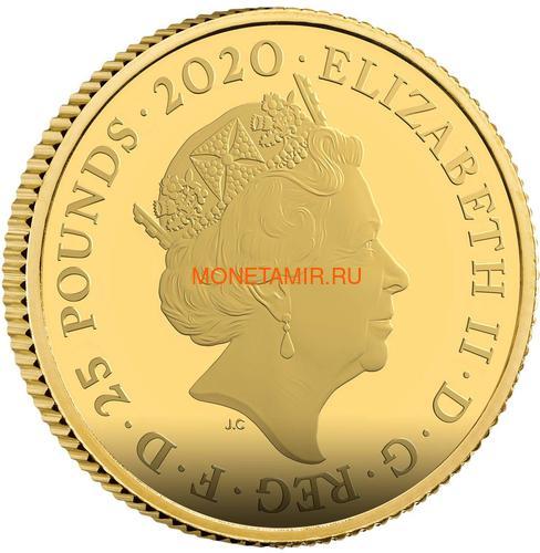 Великобритания 25 фунтов 2020 Обратите Внимание 007 Джеймс Бонд (GB 25£ 2020 Pay Attention 007 Quarter-Ounce Gold Proof Coin).Арт.90 (фото, вид 1)