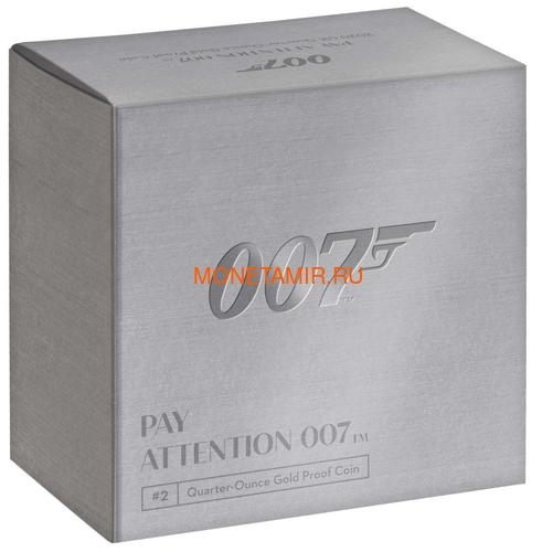 Великобритания 25 фунтов 2020 Обратите Внимание 007 Джеймс Бонд (GB 25£ 2020 Pay Attention 007 Quarter-Ounce Gold Proof Coin).Арт.90 (фото, вид 3)