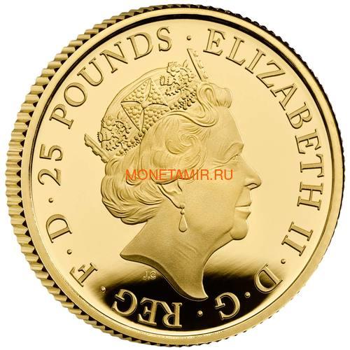 Великобритания 25 фунтов 2021 Белая Борзая Ричмонда серия Звери Королевы (GB 25£ 2021 Queen's Beast White Greyhound of Richmond Quarter-Ounce Gold Proof Coin).Арт.90 (фото, вид 1)