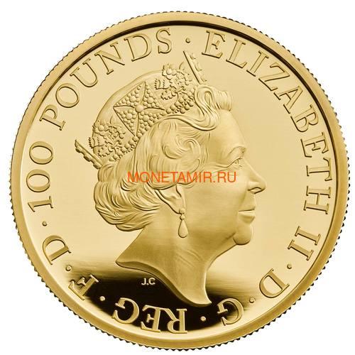 Великобритания 100 фунтов 2021 Белая Борзая Ричмонда серия Звери Королевы (GB 100£ 2021 Queen's Beast White Greyhound of Richmond 1oz Gold Proof Coin).Арт.90 (фото, вид 1)