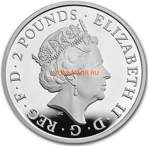 Великобритания 2 фунта 2021 Белая Борзая Ричмонда серия Звери Королевы (GB 2£ 2021 Queen's Beast White Greyhound of Richmond 1oz Silver Proof Coin).Арт.90 (фото, вид 2)