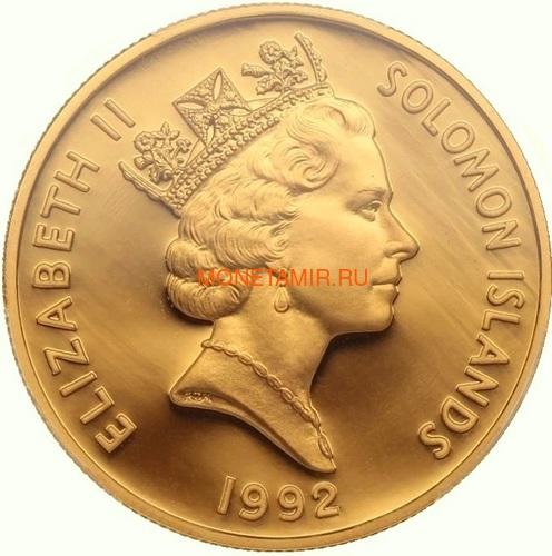 Соломоновы острова 100 долларов 1992 Битва в Коралловом Море (Solomon Isl 100$ 1992 50th Anniversary of the Battle of the Coral Sea 1oz Gold Coin).Арт.K1,8G/92 (фото, вид 1)