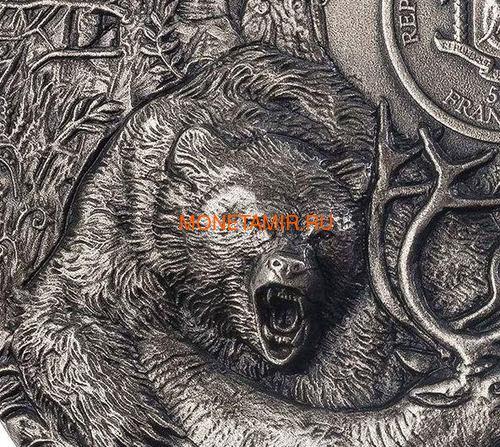 Берег Слоновой Кости Кот-д'Ивуар 5000 франков 2020 Гризли Медведь Хищники (Ivory Coast 5000FCFA 2020 Grizzly Predators 3oz Antique Finish Silver Coin).Арт.92 (фото, вид 3)