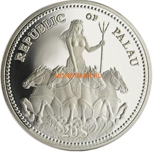 Палау 20 долларов 1995 50 лет ООН Защита Морской Жизни (Palau 1995 $20 United Nations 50th Anniversary Marine Life Protection 5Oz Silver Coin).Арт.92 (фото, вид 1)
