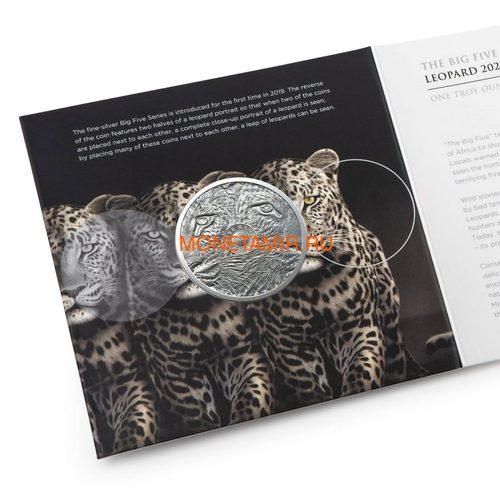 Южная Африка 5 рандов 2020 Леопард Большая Африканская Пятерка (South Africa 5R 2020 Leopard Big Five 1oz Silver Coin) Блистер.Арт.92 (фото, вид 4)