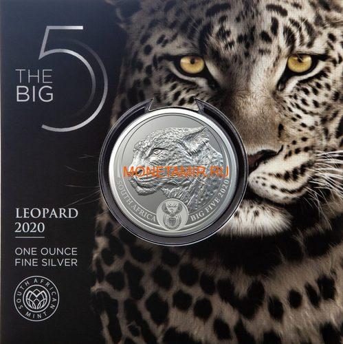 Южная Африка 5 рандов 2020 Леопард Большая Африканская Пятерка (South Africa 5R 2020 Leopard Big Five 1oz Silver Coin) Блистер.Арт.92 (фото, вид 2)