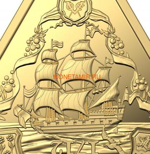 Австралия 100 долларов 2020 Корабль Зюйддорп Австралийские Кораблекрушения (Australia 100$ 2020 Zuytdorp Australian Shipwrecks 1oz Gold Triangular Investment Coin).Арт.92 (фото, вид 1)