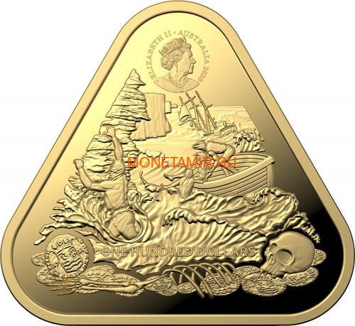 Австралия 100 долларов 2020 Корабль Зюйддорп Австралийские Кораблекрушения (Australia 100$ 2020 Zuytdorp Australian Shipwrecks 1oz Gold Triangular Investment Coin).Арт.92 (фото, вид 2)