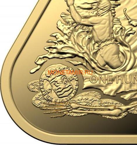 Австралия 100 долларов 2020 Корабль Зюйддорп Австралийские Кораблекрушения (Australia 100$ 2020 Zuytdorp Australian Shipwrecks 1oz Gold Triangular Investment Coin).Арт.92 (фото, вид 3)