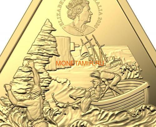 Австралия 100 долларов 2020 Корабль Зюйддорп Австралийские Кораблекрушения (Australia 100$ 2020 Zuytdorp Australian Shipwrecks 1oz Gold Triangular Investment Coin).Арт.92 (фото, вид 4)
