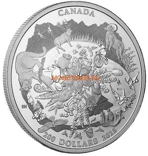 Канада 200 долларов 2015 Канадские Скалистые Горы серия Пейзажи Севера (Canada 200$ 2015 Canada's Rugged Mountains 2oz Silver Coin).Арт.60 (фото, вид 1)