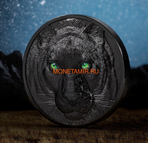 Палау 50 долларов 2021 Черная Пантера Килограмм ( Palau 50$ 2021 Black Panther Hunters by Night Kilo Silver Coin ).Арт.92 (фото, вид 1)