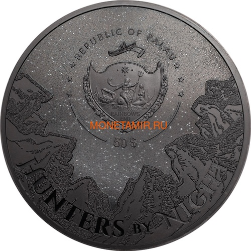 Палау 50 долларов 2021 Черная Пантера Килограмм ( Palau 50$ 2021 Black Panther Hunters by Night Kilo Silver Coin ).Арт.92 (фото, вид 2)