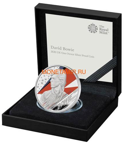 Великобритания 2 фунта 2020 Дэвид Боуи Легенды Музыки ( GB 2£ 2020 David Bowie Music Legends 1oz Silver Proof Coin ).Арт.92E (фото, вид 2)