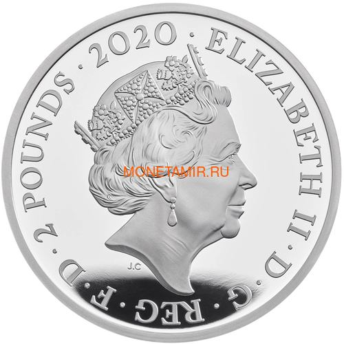 Великобритания 2 фунта 2020 Дэвид Боуи Легенды Музыки ( GB 2£ 2020 David Bowie Music Legends 1oz Silver Proof Coin ).Арт.92E (фото, вид 1)