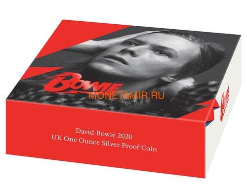 Великобритания 2 фунта 2020 Дэвид Боуи Легенды Музыки ( GB 2£ 2020 David Bowie Music Legends 1oz Silver Proof Coin ).Арт.92E (фото, вид 3)