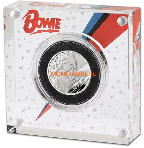 Великобритания 1 фунт 2020 Дэвид Боуи Легенды Музыки ( GB 1£ 2020 David Bowie Music Legends Half oz Silver Proof Coin ).Арт.92E (фото, вид 2)