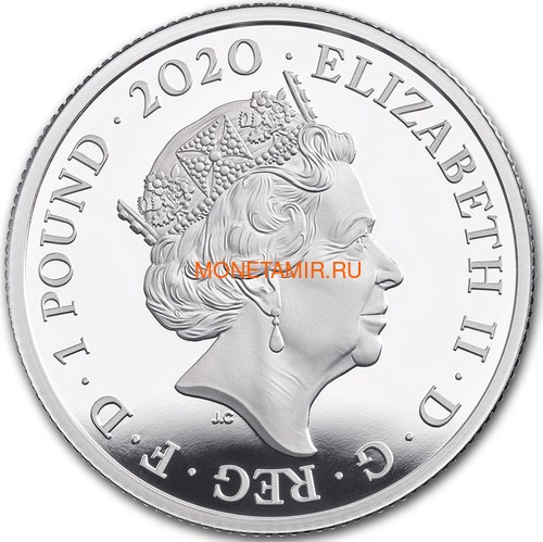 Великобритания 1 фунт 2020 Дэвид Боуи Легенды Музыки ( GB 1£ 2020 David Bowie Music Legends Half oz Silver Proof Coin ).Арт.92E (фото, вид 1)