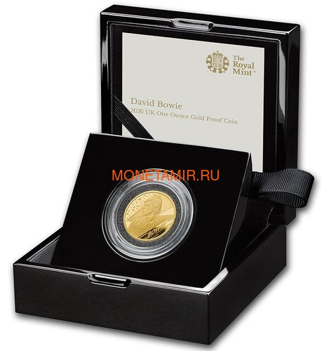 Великобритания 100 фунтов 2020 Дэвид Боуи Легенды Музыки ( GB 100£ 2020 David Bowie Music Legends 1oz Gold Proof Coin ).Арт.92E (фото, вид 2)