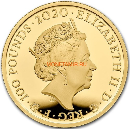 Великобритания 100 фунтов 2020 Дэвид Боуи Легенды Музыки ( GB 100£ 2020 David Bowie Music Legends 1oz Gold Proof Coin ).Арт.92E (фото, вид 1)