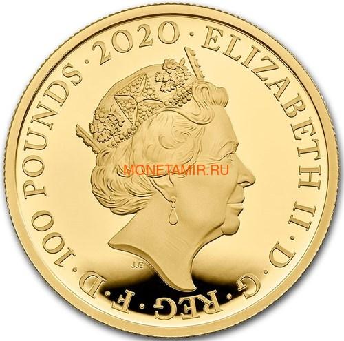 Великобритания 100 фунтов 2020 Дэвид Боуи Легенды Музыки ( GB 100£ 2020 David Bowie Music Legends 1oz Gold Proof Coin ).Арт.92E (фото, вид 1)