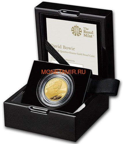 Великобритания 25 фунтов 2020 Дэвид Боуи Легенды Музыки ( GB 25£ 2020 David Bowie Music Legends Quarter-Ounce Gold Proof Coin ).Арт.92E (фото, вид 2)