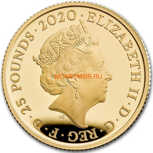 Великобритания 25 фунтов 2020 Дэвид Боуи Легенды Музыки ( GB 25£ 2020 David Bowie Music Legends Quarter-Ounce Gold Proof Coin ).Арт.92E (фото, вид 1)