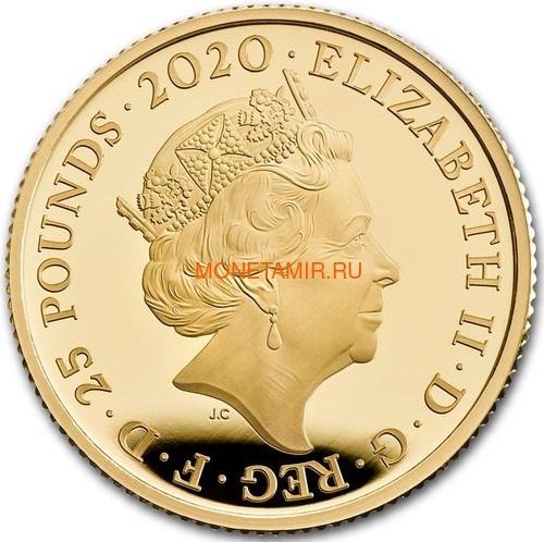 Великобритания 25 фунтов 2020 Дэвид Боуи Легенды Музыки ( GB 25£ 2020 David Bowie Music Legends Quarter-Ounce Gold Proof Coin ).Арт.92E (фото, вид 1)