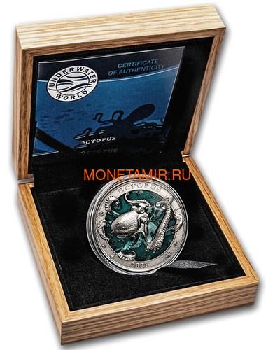 Барбадос 5 долларов 2021 Осьминог Подводный Мир ( Barbados 5$ 2021 Octopus Underwater World 3oz Silver Coin ).Арт.92 (фото, вид 2)