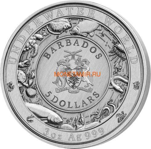 Барбадос 5 долларов 2021 Осьминог Подводный Мир ( Barbados 5$ 2021 Octopus Underwater World 3oz Silver Coin ).Арт.92 (фото, вид 1)