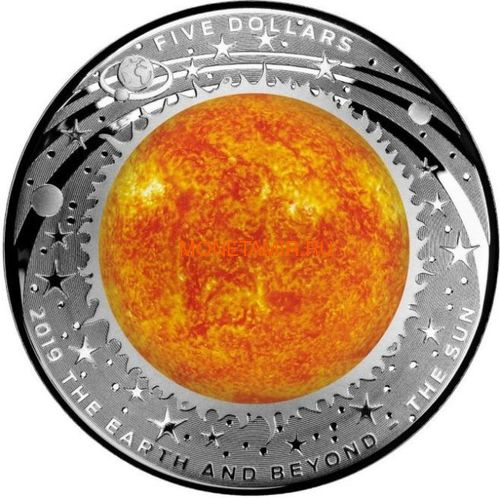 Австралия 5 долларов 2018/19 Земля Луна Солнце серия За Пределами Земли Набор Три Монеты Выпуклая (Australia 2018/19 $5 Earth Moon Sun Beyond the Earth Silv Proof Domed Coin).Арт.92 (фото, вид 3)