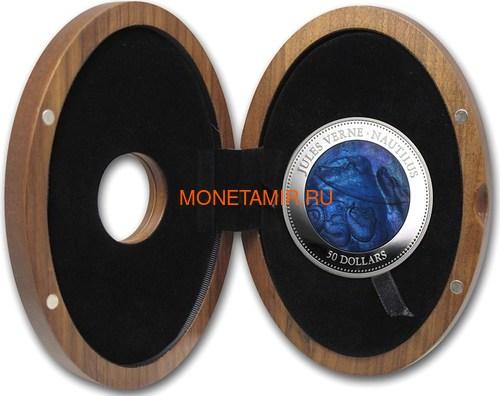 Острова Кука 50 долларов 2014 Наутилус Жюль Верн Перламутр (Cook Isl 50$ 2014 Nautilus Jules Verne Mother of Pearl 5oz Silver Coin Proof).Арт.001345345772/60 (фото, вид 3)