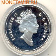 """Канада 50 центов 1995. Птицы. """"Белые куропатки"""" (фото, вид 1)"""