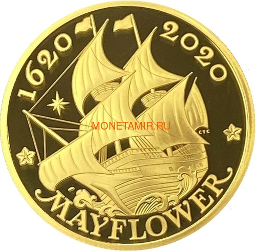 Великобритания 100 фунтов 2020 Мэйфлауэр Корабль Слаб ( GB 100£ 2020 Mayflower 1oz Gold Proof Coin NGC PR70 UC ).Арт.92E (фото, вид 1)