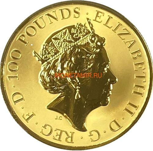 Великобритания 100 фунтов 2020 Мэйфлауэр Корабль Слаб ( GB 100£ 2020 Mayflower 1oz Gold Proof Coin NGC PR70 UC ).Арт.92E (фото, вид 3)