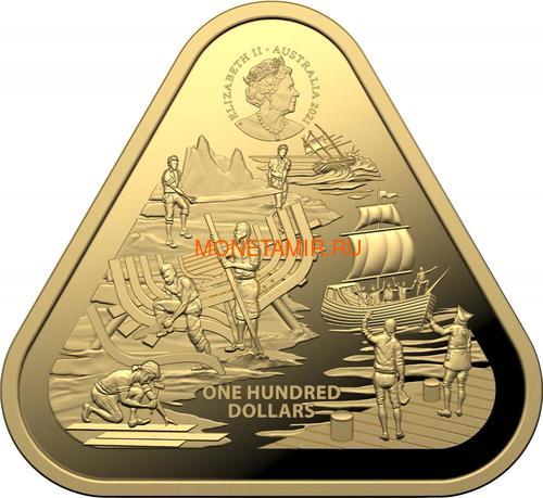 Австралия 100 долларов 2021 Корабль Зевейк Австралийские Кораблекрушения ( Australia 100$ 2021 Zeewijk Australian Shipwrecks 1oz Gold Triangular Investment Coin ).Арт.92E (фото, вид 2)