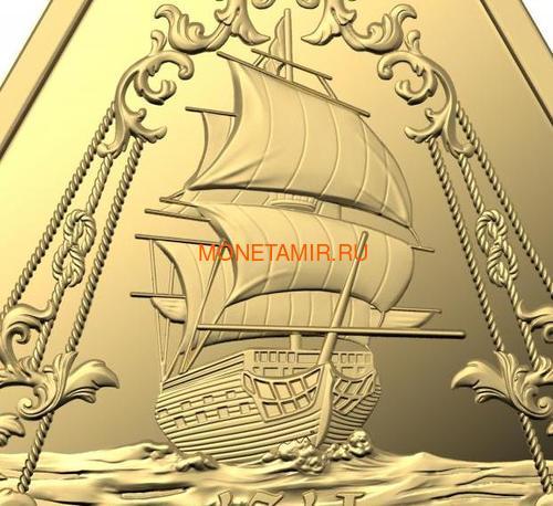 Австралия 100 долларов 2021 Корабль Зевейк Австралийские Кораблекрушения ( Australia 100$ 2021 Zeewijk Australian Shipwrecks 1oz Gold Triangular Investment Coin ).Арт.92E (фото, вид 1)