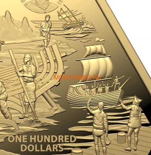 Австралия 100 долларов 2021 Корабль Зевейк Австралийские Кораблекрушения ( Australia 100$ 2021 Zeewijk Australian Shipwrecks 1oz Gold Triangular Investment Coin ).Арт.92E (фото, вид 3)