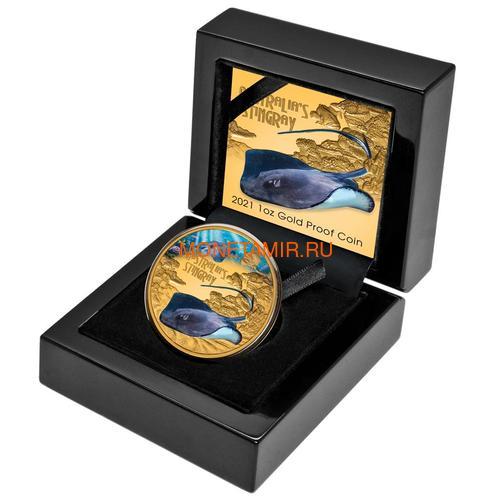 Ниуэ 100 долларов 2021 Скат серия Смертельно Опасные ( Niue 2021 $100 Stingray Deadly and Dangerous 1oz Gold Proof Coin )Арт.92 (фото, вид 2)