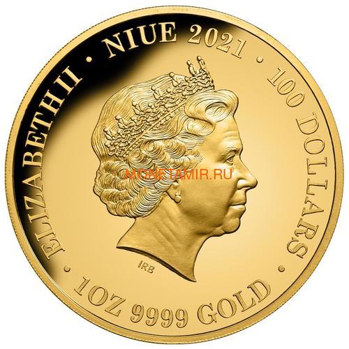 Ниуэ 100 долларов 2021 Скат серия Смертельно Опасные ( Niue 2021 $100 Stingray Deadly and Dangerous 1oz Gold Proof Coin )Арт.92 (фото, вид 1)