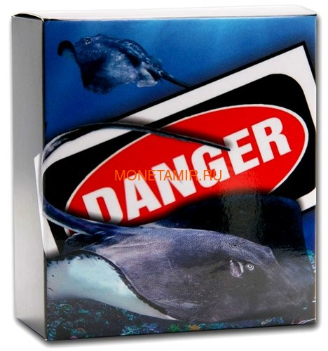 Тувалу 1 доллар 2021 Скат серия Смертельно Опасные ( Tuvalu 1$ 2021 Deadly and Dangerous Stingray 1oz Silver Coin ).Арт.92 (фото, вид 4)