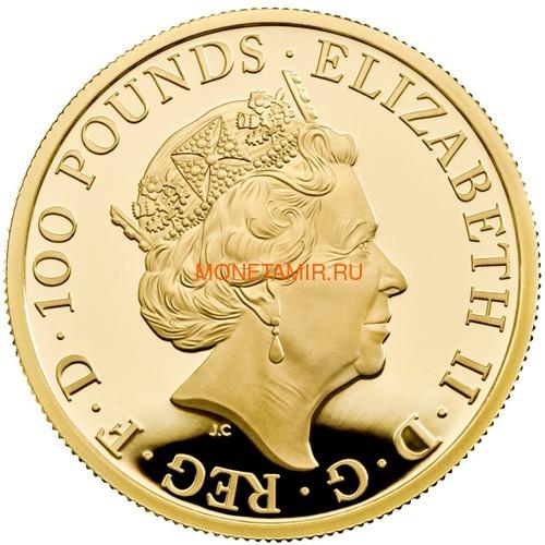 Великобритания 100 фунтов 2021 Грифон Эдуарда III серия Звери Королевы (GB 100£ 2021 Queen's Beast Griffin of Edward III 1oz Gold Proof Coin).Арт.90 (фото, вид 2)