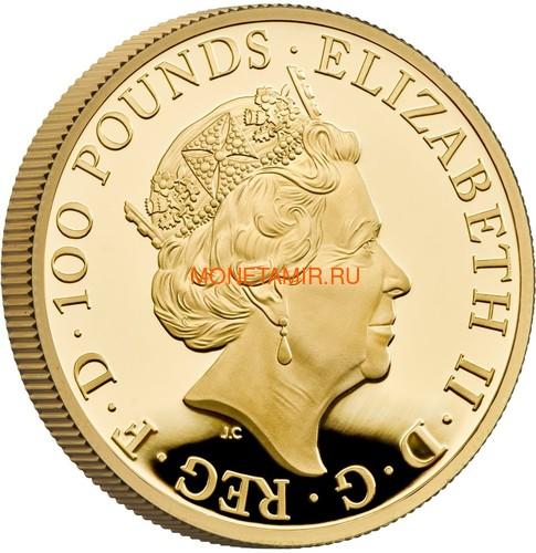Великобритания 100 фунтов 2021 Грифон Эдуарда III серия Звери Королевы (GB 100£ 2021 Queen's Beast Griffin of Edward III 1oz Gold Proof Coin).Арт.90 (фото, вид 3)